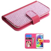 Insten Flip Leather Cover Case For iPhone 6 5 HTC One M7/S/X/XL LG Optimus Galaxy S2/S3 Mini/S4 Mini/S5 Mini - Hot Pink