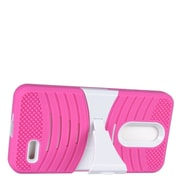 Insten Wave Symbiosis Dual Layer Hybrid Stand Amor Shockproof Case Cover For ZTE Grand X 4 - Hot Pink/White