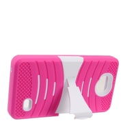 Insten Wave Symbiosis Dual Layer Hybrid Stand Amor Shockproof Case Cover For ZTE Tempo - Hot Pink/White