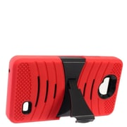 Insten Wave Symbiosis Dual Layer Hybrid Stand Amor Shockproof Case Cover For ZTE Tempo - Red/Black