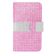 Insten Wallet Leather Diamante Card Case For LG Optimus L70 / Exceed / Realm - Hot Pink/Silver
