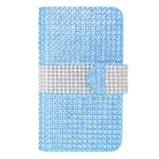 Insten Wallet Leather Bling Card Case For LG Optimus L70 / Exceed / Realm - Light Blue/Silver