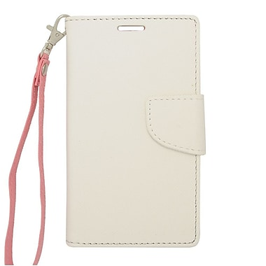 Insten Flip Wallet Leather Case with Card slot For LG Optimus L70 / Exceed / Realm - White/Pink