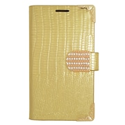 Insten Folio Wallet Leather Fabric Case with Card Holder & Diamond For LG Tribute - Gold