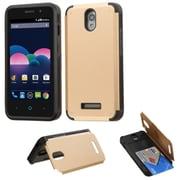 Insten Hard Rubber Cover Case w/card holder For ZTE Obsidian - Gold