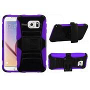 Insten Rugged Hybrid Hard Shockproof Holster Kickstand CaseFor Samsung Galaxy S6 - Black/Purple