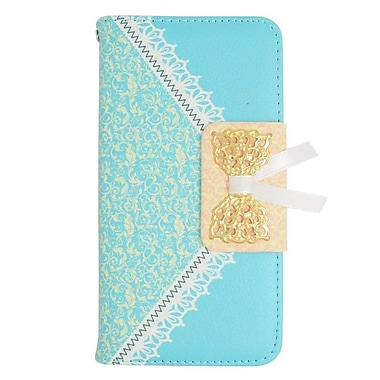 Insten Folio Leather Case with stand For LG Optimus L70 / Exceed / Realm - Blue/Gold