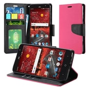 Insten Flip Leather Fabric Case w/stand/card slot/Photo Display For ZTE Grand X 4 - Hot Pink