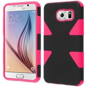 Insten Dynamic Hard Dual Layer Silicone Cover Case For Samsung Galaxy S6 - Black/Hot Pink