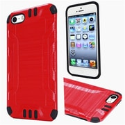 Insten Hard Hybrid Rubber Coated Silicone Cover Case For Apple iPhone 5/5S/SE - Red/Black