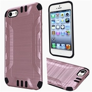 Insten Hard Dual Layer Rubberized Silicone Cover Case For Apple iPhone 5/5S/SE - Rose Gold/Black