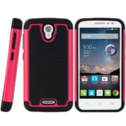 Insten Hard Dual Layer TPU Cover Case For Alcatel One Touch Pop Astro - Black/Hot Pink