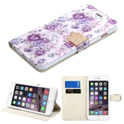 Insten Flowers Folio Leather Fabric Case w/stand/card holder/Diamond For Apple iPhone 6s Plus / 6 Plus - Purple/White