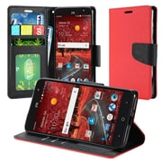 Insten Flip Leather Fabric Cover Case w/stand/card slot/Photo Display For ZTE Grand X 4 - Red