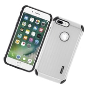Insten Carry On Hybrid Dual Layer Rubberized Hard Silicone Protective Case Cover For Apple iPhone 7 Plus - Silver/Black