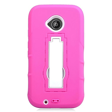 Insten Dual Layer Rubber Hard Case with stand For Motorola Moto E (2nd Gen) - Hot Pink/White