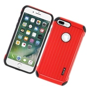 Insten Carry On Hybrid Dual Layer Rubberized Hard Silicone Protective Case Cover For Apple iPhone 7 Plus - Red/Black