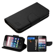 Insten Flip Wallet Leather Fabric Case with card slot For Alcatel One Touch Pixi 4 (3.5) - Black