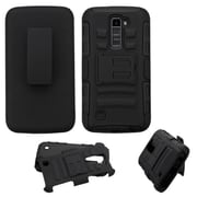 Insten Hard Dual Layer Plastic Silicone Case with Holster For LG K10 - Black