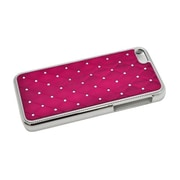 Insten Hard Rubber Coated Chrome Case with Diamond for iPhone 5C - Hot Pink