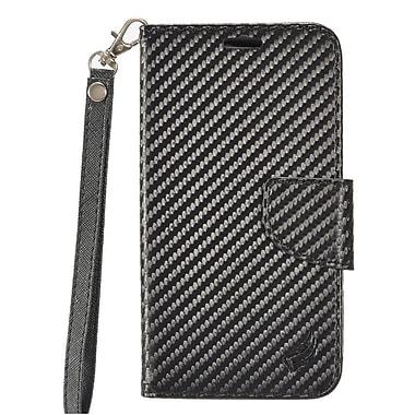 Insten Carbon Fiber Book-Style Leather Stand Card Case Lanyard w/Photo Display For Alcatel Stellar / Tru - Black