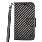 Insten Carbon Fiber Book-Style Leather Stand Card Case Lanyard w/Photo Display For Alcatel Stellar / Tru - Black