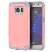 Insten Hybrid Hard TPU Dual Layer Cover Shockproof Case For Samsung Galaxy S7 - Light Pink/Gray