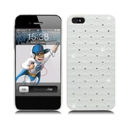 Insten Hard Rubberized Case with Diamond for iPhone 5S 5 SE - White