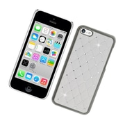 Insten Hard Rubber Chrome Cover Case with Diamond for iPhone 5C - White