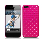 Insten Hard Rubberized Case with Diamond for iPhone 5S 5 SE - Hot Pink