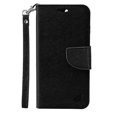 Insten Flip Leather Fabric Case Lanyard w/stand/card slot/Photo Display For Alcatel Stellar / Tru - Black