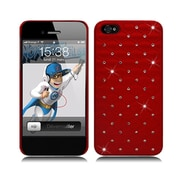 Insten Hard Rubber Coated Case with Diamond for iPhone 5S 5 SE - Red