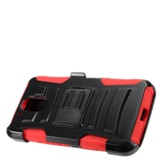 Insten Advanced Armor Hybrid Stand Case + Holster Clip For Motorola Moto G4 Plus XT1644 / G4 XT1625 - Black/Red