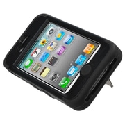 Insten Natural Black/Black Hybrid Rugged Shockproof Case Skin Stand Design Hard Cover For iPhone 4 4s 4G