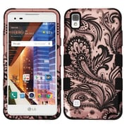 Insten Tuff Phoenix Flower Hard Dual Layer Rubber Silicone Case For LG Tribute HD / X STYLE - Rose Gold/Black