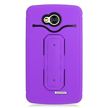 Insten Hybrid Rubber Hard Case with Stand & Card slot For LG Tribute - Purple/Black