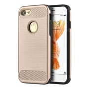 Insten Carbon Tech Silk Hybrid Hard PC/TPU Dual Layer Cover Case For Apple iPhone 7 - Gold/Black