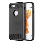 Insten Carbon Tech Silk Hybrid Hard PC/TPU Dual Layer Cover Case For Apple iPhone 7 - Black