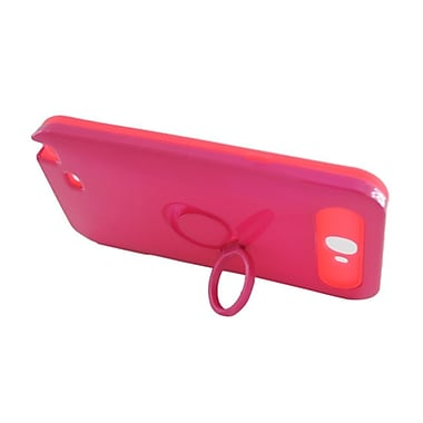 Insten Two-Tone/NightGlow Ring Stand Hybrid Jelly Hard Silicone Case Cover For Samsung Galaxy Note II - Hot Pink