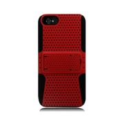 Insten TPU Rubber Hard PC Candy Skin Mesh Kickstand Case Cover For Apple iPhone 5 / 5S - Red/Black