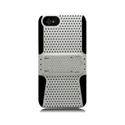 Insten TPU Rubber Hard PC Candy Skin Mesh Kickstand Case Cover For Apple iPhone 5 / 5S - White/Black