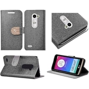 Insten Flip Leather Glitter Case w/stand/card slot/Diamond For LG Leon - Silver/Gold