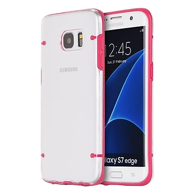 Insten Fusion Candy Clear Back 4 Dots Hybrid Dual Layer Hard PC/TPU Case For Samsung Galaxy S7 Edge - Clear/Hot Pink