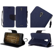 Insten Flip Leather Fabric Cover Case Lanyard w/stand For Alcatel One Touch Fierce 4 / Pop 4 Plus - Blue