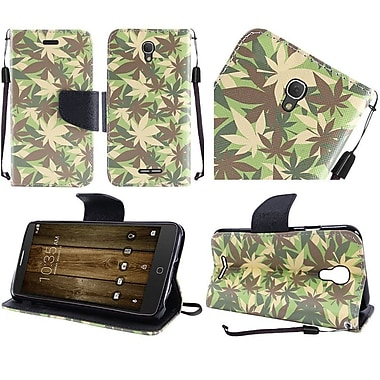 Insten Camouflage Flip Leather Fabric Case Lanyard w/stand For Alcatel One Touch Fierce 4 / Pop 4 Plus - Green/White