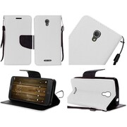 Insten Book-Style Leather Fabric Cover Case Lanyard w/stand For Alcatel One Touch Fierce 4 / Pop 4 Plus - White/Black