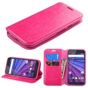 Insten Flip Leather Fabric Case w/stand/card slot For Motorola Moto G(3rd Gen) - Hot Pink