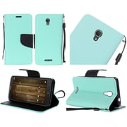 Insten Book-Style Leather Fabric Case Lanyard w/stand For Alcatel One Touch Fierce 4 / Pop 4 Plus - Teal/Black