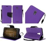 Insten Folio Leather Fabric Case Lanyard w/stand For Alcatel One Touch Fierce 4 / Pop 4 Plus - Purple/Black