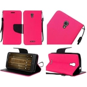 Insten Book-Style Leather Fabric Cover Case Lanyard w/stand For Alcatel One Touch Fierce 4 / Pop 4 Plus - Hot Pink/Black